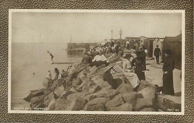 Co Antrim South Pier Portrush Homemade Diving Board Animated Real Photo