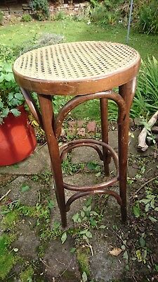 Tall Bentwood Stool with Rattan Seat