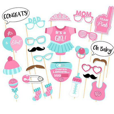 25pcs Photo Booth Props Diaper Balloon Mask On Stick Baby Shower Birthday Party