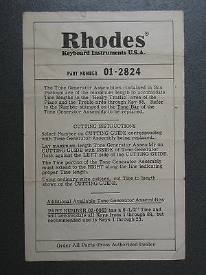 Vintage 1970's Rhodes Electric Piano Tone Generator Assemblies leaflet, Tines 88