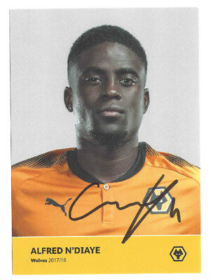 Alfred N'diaye (Wolves Fc) Signed Official 2017/18 Club Card Photo 100% Genuine
