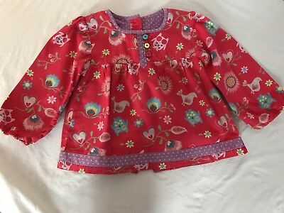Girls Long Sleeve Blouse Age 12-18 Months M&S Red