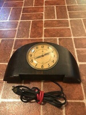 Vintage General Electric 1940's 4H08 Art Deco Wood Mantle Clock NOT WORKING