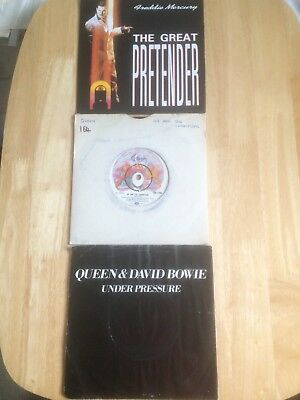 3 QUEEN/MERCURY/BOWIE 45rpm SINGLES