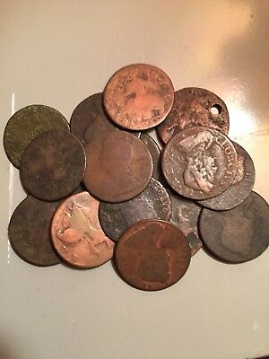 Pile of old George II non-regal copper 1/2d, Young style, 15 pieces