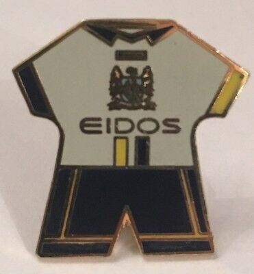 Manchester City Club Kit Sponsored By Eidos Old Rare Enamel Football Pin Badge
