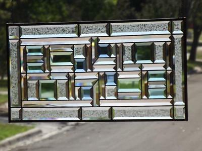 """•MOTION of LIGHT •Beveled Stained Glass Window Panel • ≈ 29 ½"""" x 14 ½"""" (75x37Cm)"""