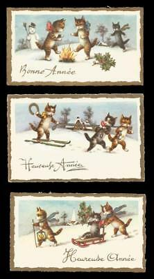 U34 - ANTHROPOMORPHIC CATS IN THE SNOW - 3 VINTAGE 1950s FRENCH NEW YEAR CARDS