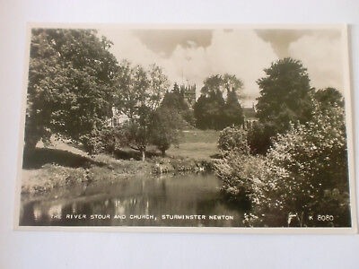 STURMINSTER NEWTON River Stour and Church Valentines Real Photograph RP Postcard