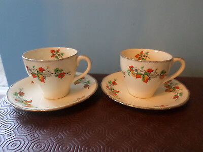 Vintage Alfred Meakin 'Bracken' 2 x Tea cups and Saucers
