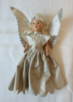 """Antique Composition Head Angel Christmas Tree Topper 8"""" height"""