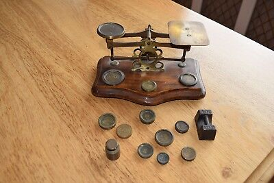 Antique Victorian Brass Postal/letter Scales & Weights On Mahogany Base