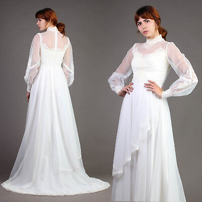 vtg VICTORIAN sheer scalloped lace WEDDING gown hippie dress train 70s 80s S