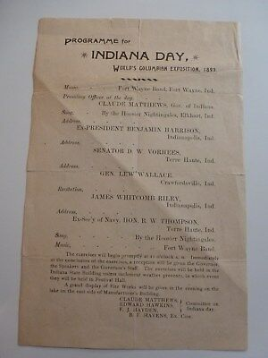 1893 Columbian Exposition Program For Indiana Day