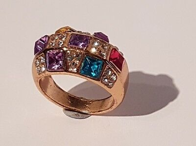 Impressive solid gold tone multi stone ring.  Metal detecting find