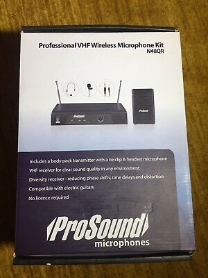 ProSound VHF Wireless Headset & Tie Clip  Professional Microphones Kit N48QR