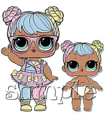 Iron on Transfer LOL SURPRISE DOLL  dolls BON BON LIL SISTER 14x14cm
