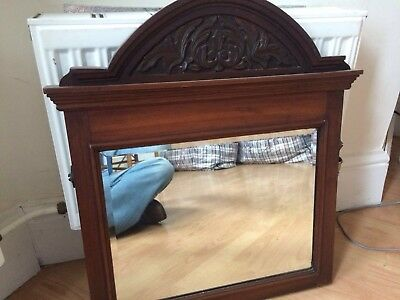 Art Nouveau Antique Carved Wooden Bevel Edge Mirror Very Old Heavy Quality Item