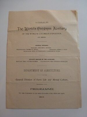 1893 Columbian Exposition World's Congress Auxillary Agriculture Program