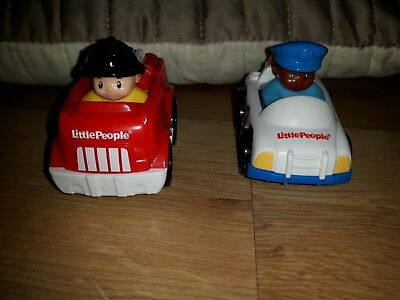 Fisher Price Little People cars. Fire engine and police car. Used.