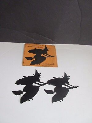 Vtg Dennison Halloween Cutouts Witch on Broomstick in Original Envelope