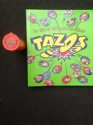 """Tazo - collectors album and orange """"doubles/trades"""" canister"""