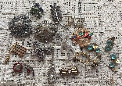 Vintage Lot Of 11 Rhinestone Pins /Brooches. All Unique
