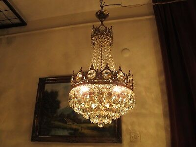 Antique Vnt.French Basket Style Crystal Chandelier Lamp Light 1940's.11 in RARE