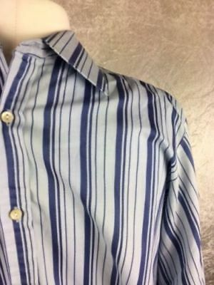 Mens Vintage ST MICHAEL Formal Shirt Collar 16 Blue Polycotton Long Sleeved