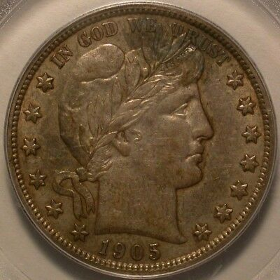 1905 Barber Half Dollar PCGS AU-50 Tough coin! (Net graded for darkness)