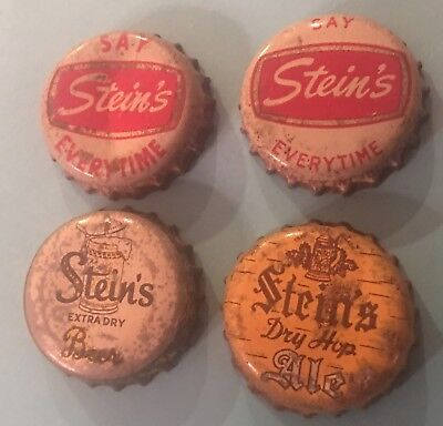 Stein's Beer Crown Lot Of 4 Different Cork, Vintage Buffalo NY Beer