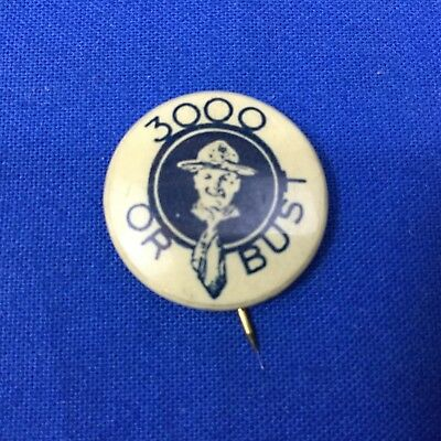 Boy Scout Vintage Button 3000 Or Bust Bastian Bros. Co. Rochester, NY