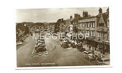 Wiltshire : Marlborough High Street Real Photo Postcard  Buses / Cars / Shops