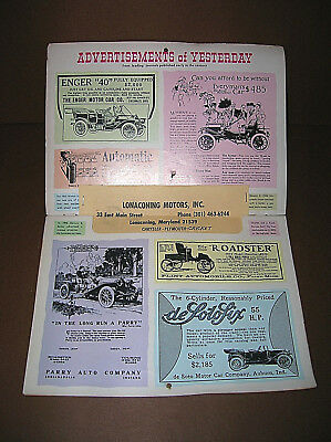Vintage 1973 Cars of Yesterday Calendar Classic Antique Cars Lonaconing Maryland