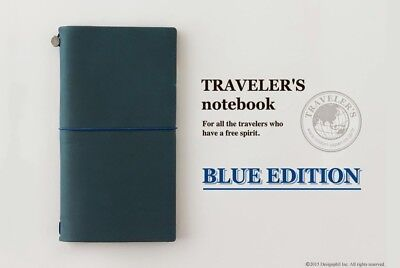 Regular Size Travelers Notebook Blue Edition Genuine Midori Leather Authentic