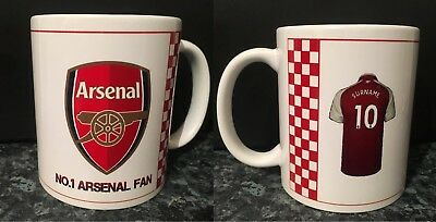 PERSONALISED Arsenal Mug Add your own name to shirt -Christmas/Birthday Gift