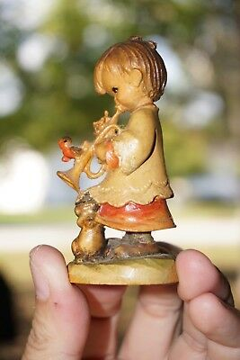 Old ANRI Intricately Carved Girl With Trumpet, Bird, Artist Signed