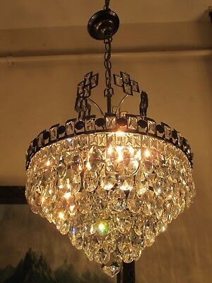 Antique VNT. RETRO French Basket Style Crystal Chandelier Lamp 1960's.14 in RARE