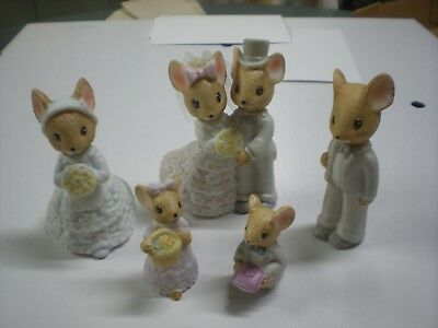 Enesco Country Calico Mice Wedding Party Figurines
