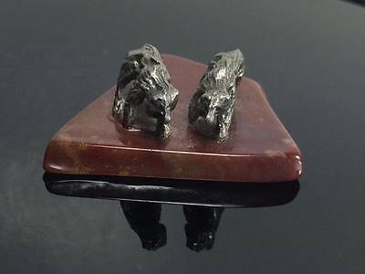 Small hand crafted Lead and granite bear figurine
