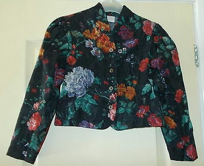Vintage St. Michaels Black Floral Girls Blouse Age 9 Years - Unworn