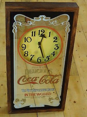 """Vintage Coca Cola Adverting ~Mirrored Wall Clock ~ 25"""" Tall ~ Ships for Free"""