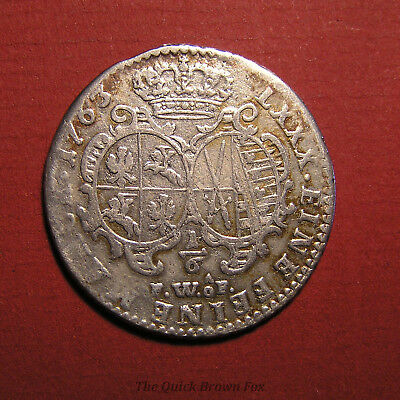 1763 silver 1/6 thaler, Fridrich August of Saxony and Poland