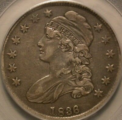 1836 Bust Half Dollar 50/00 Lettered Edge PCGS XF-40. Tough Variety!