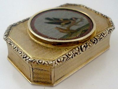 Rare Engine Turned Sterling Snuff Box Micro Mosaic Plaque Nathinel Mills 1826