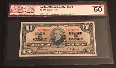 1937 Bank of Canada $100, BC-27c, BCS Certified AU-50 (with stain)!!! C.V $460