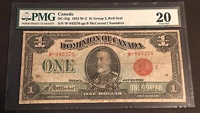 RARE! 1923 Bank of Canada $1.00, DC-25g, PMG Certified VF-20!!! C.V $120.00