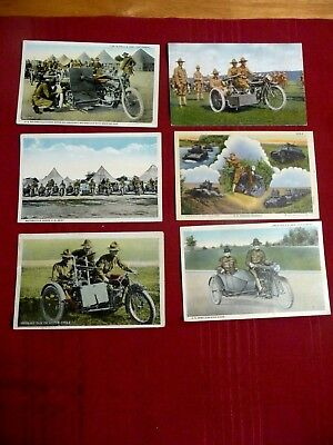Good Lot Of 6 Vtg 1920S U.s. Army  Military Motorcycle Machine Gun Post Cards