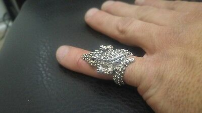 silver alligator crocodile ring size 8