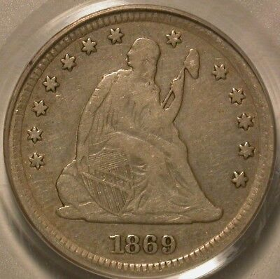 1869-S Seated Liberty Quarter PCGS F-12 Nice semi-key coin!